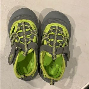 Size 9 Boys Sandals yellow/green and gray.